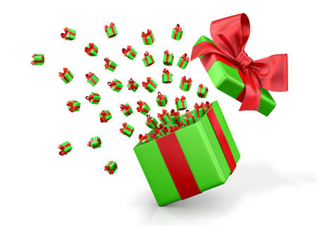emitting: Gift box emitting little gift boxes with a red ribbon