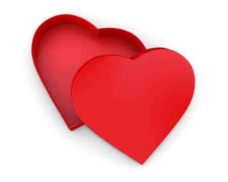 fourteen: Heart shaped gift box 3d render