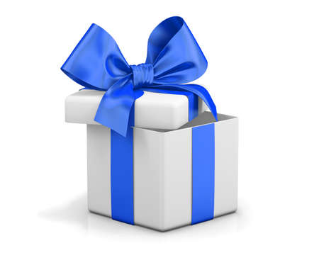 blue bow: Open gift box with blue bow isolated on white Stock Photo