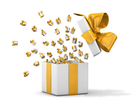 open box: Gift box emitting little gift boxes with a yellow ribbon