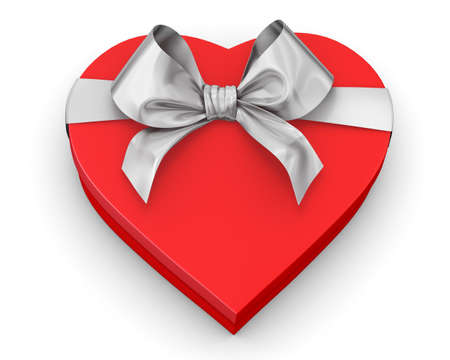 red heart shaped gift box over white background 3d illustration Archivio Fotografico
