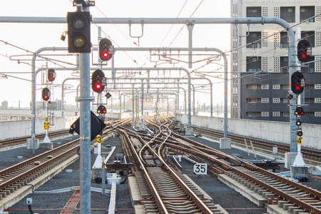 railway tracks: Many railway tracks near the railway station Stock Photo