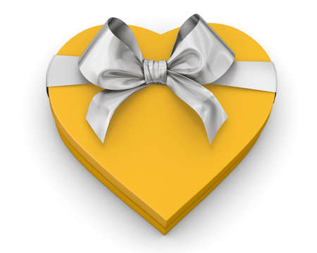 yellow heart: yellow heart shaped gift box over white background 3d illustration
