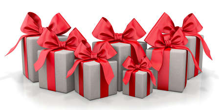 elaborate: christmas, new year, birthday for  gray gift box and  red bow 3d render