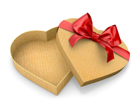 heart white: Heart shaped gift cardboard box red bow valentines day Stock Photo