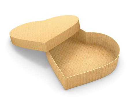 shaped: Heart shaped gift cardboard box 3d render Stock Photo