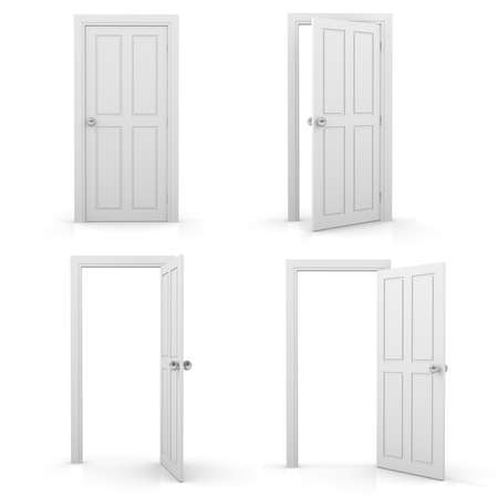 three dimensional accessibility: Open and closed white doors, Isolated on white Stock Photo