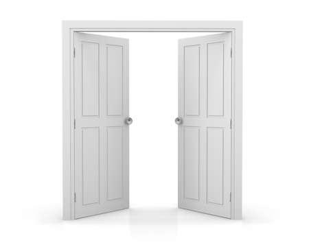 cross over door 3d white double door on white background stock photo