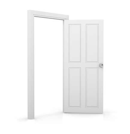 ajar: 3d white door open on white background