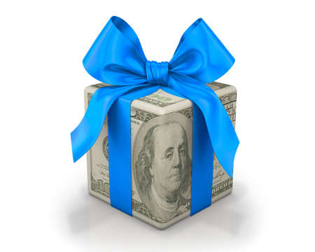 one hundred dollar bill: Money gift box with blue ribbon, one hundred dollar bill, isolated on a white background
