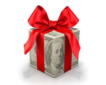 christmas budget: Money gift box with red ribbon, one hundred dollar bill, isolated on a white background Stock Photo