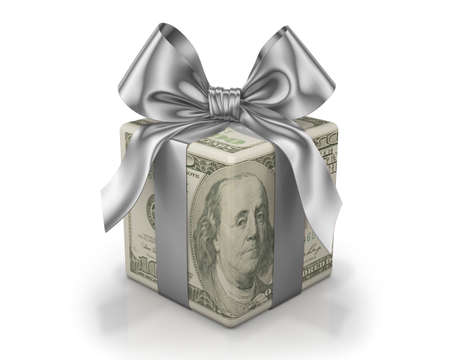 christmas budget: Money gift box with  ribbon, one hundred dollar bill, isolated on a white background