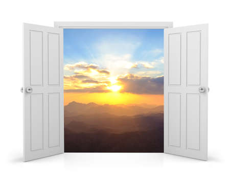 sunsets: open door and sunsets sky