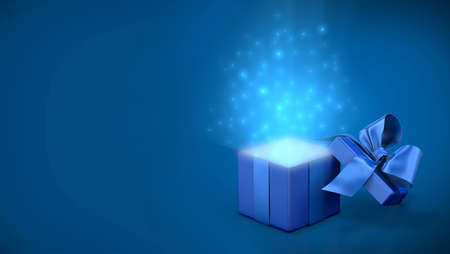 the light rays: Open gift box with bright rays of light