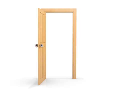 view of a wooden doorway: 3d wood door open on white background Stock Photo