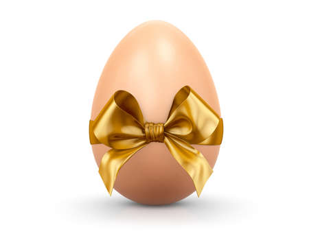 easter egg and golden ribbon  3d render