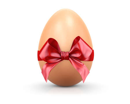 easter egg and red ribbon 3d render