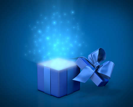 open box: Open gift box with bright rays of light