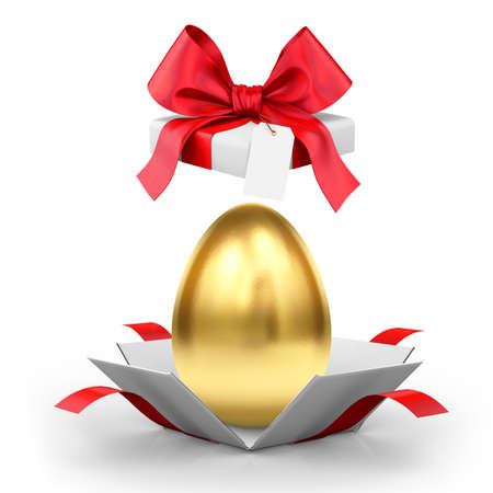 Easter egg in an open gift box isolated on a white background