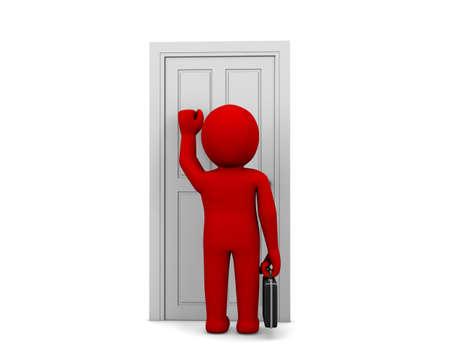 Businessman knocking at a door
