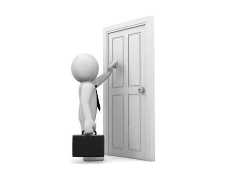 knocking: Businessman knocking at a door Stock Photo