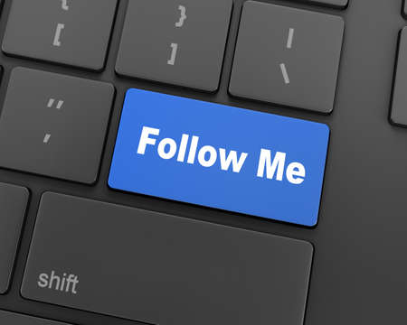 follow: keyboard with  Follow Me button, 3d rendering Stock Photo