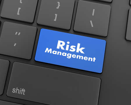 competitividad: Orange Risk Management Button on Computer Keyboard. Business Concept, 3d rendering Foto de archivo