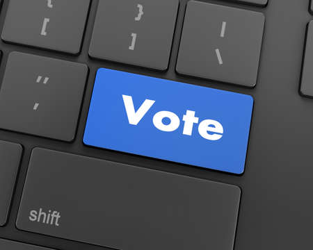 successful campaign: Text vote button, 3d rendering Stock Photo