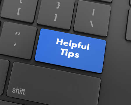 Text helpful tips button, 3d rendering