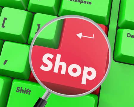 shop button: Text shop button, 3d rendering Stock Photo