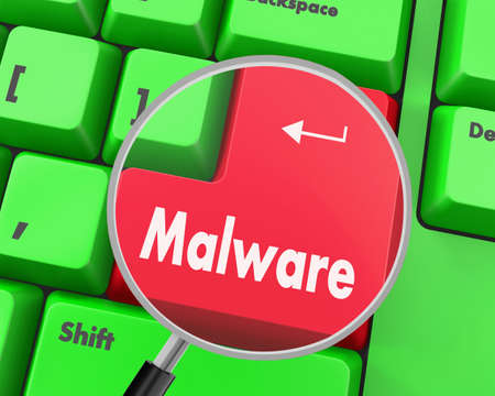 malware: Text malware button, 3d rendering