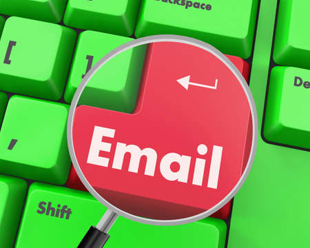 inform information: Text email button, 3d rendering