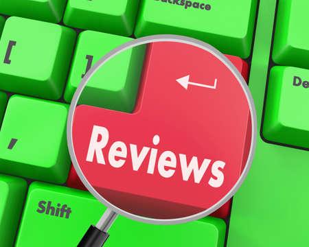 reviews: Text reviews button, 3d rendering