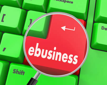 webhosting: Text ebusiness button, 3d rendering