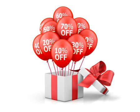 annotation: Balloons With Sale Discounts and with box. Holidays SALE concept background.3d rendering