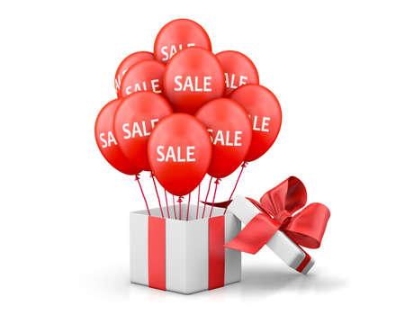 Balloons With Sale Discounts and with box. Holidays SALE concept background.3d rendering