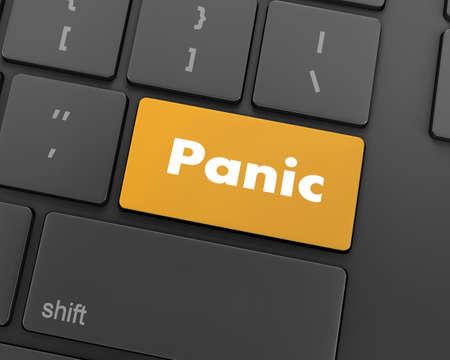 panic button: Text panic button, 3d rendering