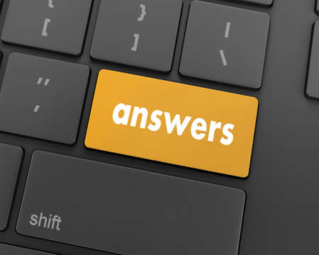 answers concept: answers concept on the modern keyboard, 3d rendering