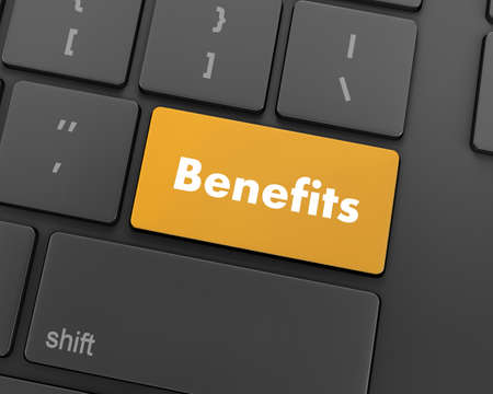 fringe benefit: Benefits - Business Concept. Button on Modern Computer Keyboard, 3d rendering Stock Photo