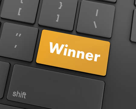 sweepstake: winner button on the keyboard key close-up, 3d rendering Stock Photo