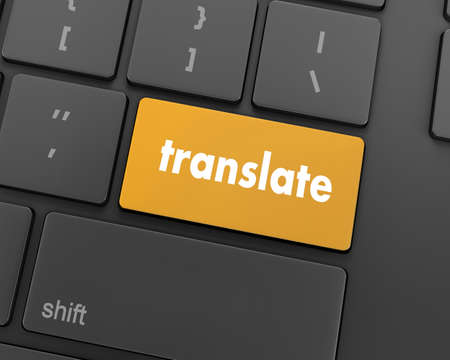 computer peripheral: Translate Computer Key In Blue Showing Online Translator, 3d rendering Stock Photo