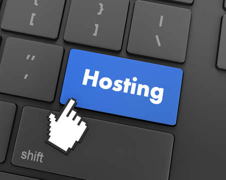 webhost: Text hosting button, 3d rendering