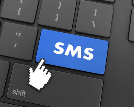 teleworker: Text sms button, 3d rendering