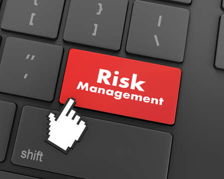 Orange Risk Management Button on Computer Keyboard. Business Concept, 3d rendering Stock Photo