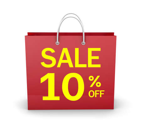 10% OFF SHOPPING BAG 3d rendering