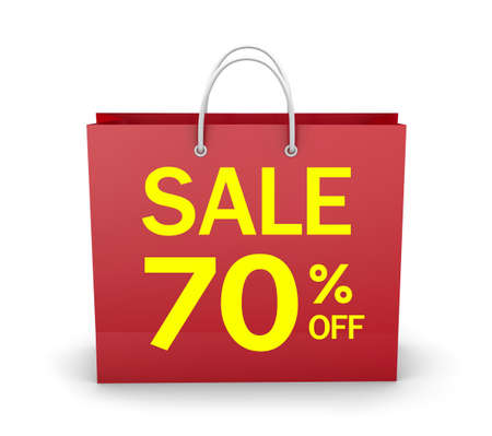70: 70% OFF SHOPPING BAG 3d rendering Stock Photo