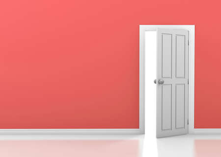 ajar: red wall with opened white door 3d rendering