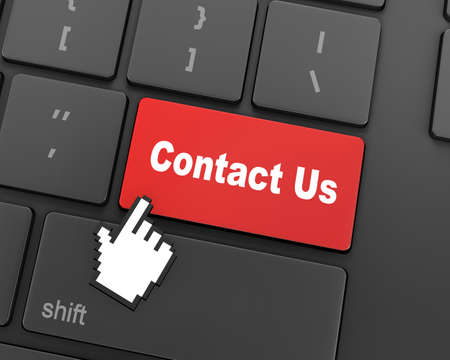 contacting: A contact us message on keyboard, internet or online contact through website, 3d rendering