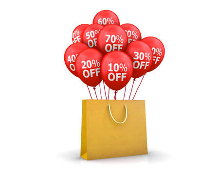 red balloons: Red Balloons Discounts and bag, 3d rendering