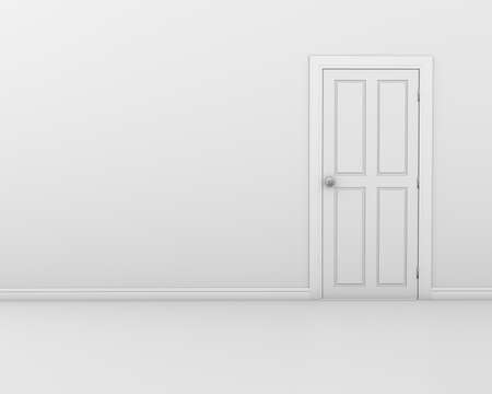 white door: Closed White Door on white Wall, 3d rendering